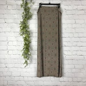 Agnes & Dora Tan Mosaic Yoga Waist Maxi Skirt XL